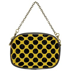 Circles2 Black Marble & Yellow Denim Chain Purses (one Side)  by trendistuff
