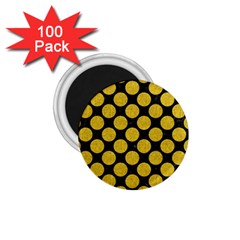Circles2 Black Marble & Yellow Denim (r) 1 75  Magnets (100 Pack)  by trendistuff