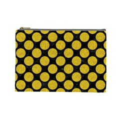 Circles2 Black Marble & Yellow Denim (r) Cosmetic Bag (large)  by trendistuff