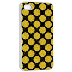 Circles2 Black Marble & Yellow Denim (r) Apple Iphone 4/4s Seamless Case (white) by trendistuff