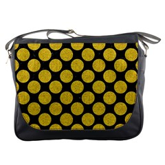 Circles2 Black Marble & Yellow Denim (r) Messenger Bags by trendistuff