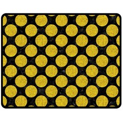 Circles2 Black Marble & Yellow Denim (r) Double Sided Fleece Blanket (medium)  by trendistuff