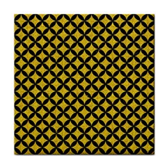 Circles3 Black Marble & Yellow Denim Face Towel by trendistuff