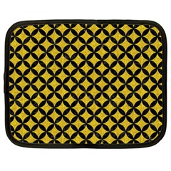 Circles3 Black Marble & Yellow Denim Netbook Case (xxl)  by trendistuff