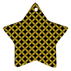 Circles3 Black Marble & Yellow Denim (r) Star Ornament (two Sides) by trendistuff