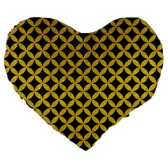 Circles3 Black Marble & Yellow Denim (r) Large 19  Premium Heart Shape Cushions by trendistuff
