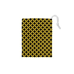 Circles3 Black Marble & Yellow Denim (r) Drawstring Pouches (xs)  by trendistuff