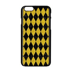 Diamond1 Black Marble & Yellow Denim Apple Iphone 6/6s Black Enamel Case by trendistuff