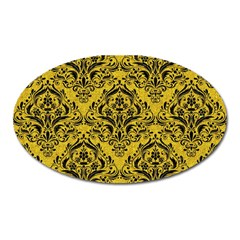 Damask1 Black Marble & Yellow Denim Oval Magnet by trendistuff