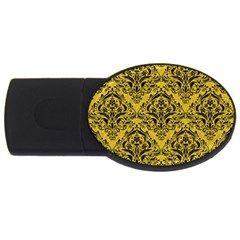 Damask1 Black Marble & Yellow Denim Usb Flash Drive Oval (2 Gb) by trendistuff