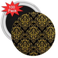 Damask1 Black Marble & Yellow Denim (r) 3  Magnets (100 Pack) by trendistuff