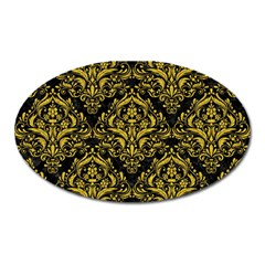 Damask1 Black Marble & Yellow Denim (r) Oval Magnet by trendistuff