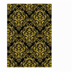 Damask1 Black Marble & Yellow Denim (r) Large Garden Flag (two Sides)