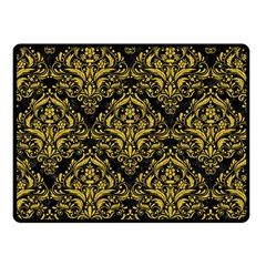 Damask1 Black Marble & Yellow Denim (r) Double Sided Fleece Blanket (small)  by trendistuff