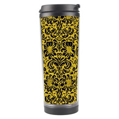 Damask2 Black Marble & Yellow Denim Travel Tumbler by trendistuff