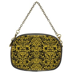 Damask2 Black Marble & Yellow Denim (r) Chain Purses (two Sides)  by trendistuff