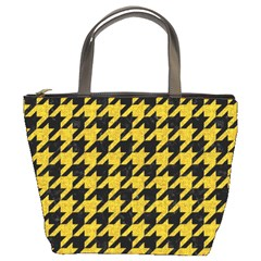 Houndstooth1 Black Marble & Yellow Denim Bucket Bags by trendistuff