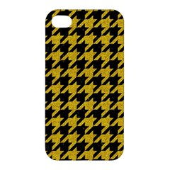 Houndstooth1 Black Marble & Yellow Denim Apple Iphone 4/4s Hardshell Case by trendistuff
