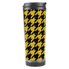 Houndstooth1 Black Marble & Yellow Denim Travel Tumbler by trendistuff