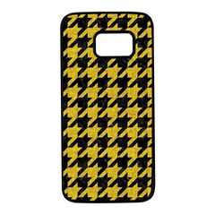 Houndstooth1 Black Marble & Yellow Denim Samsung Galaxy S7 Black Seamless Case by trendistuff
