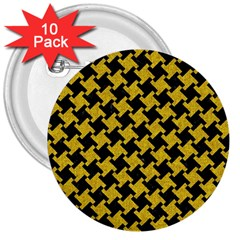Houndstooth2 Black Marble & Yellow Denim 3  Buttons (10 Pack)  by trendistuff