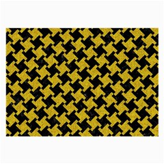 Houndstooth2 Black Marble & Yellow Denim Large Glasses Cloth by trendistuff