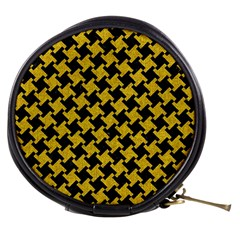 Houndstooth2 Black Marble & Yellow Denim Mini Makeup Bags by trendistuff