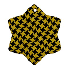 Houndstooth2 Black Marble & Yellow Denim Snowflake Ornament (two Sides) by trendistuff