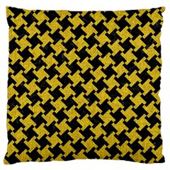 Houndstooth2 Black Marble & Yellow Denim Large Cushion Case (two Sides) by trendistuff
