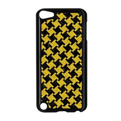 Houndstooth2 Black Marble & Yellow Denim Apple Ipod Touch 5 Case (black) by trendistuff