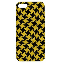 Houndstooth2 Black Marble & Yellow Denim Apple Iphone 5 Hardshell Case With Stand by trendistuff