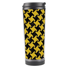Houndstooth2 Black Marble & Yellow Denim Travel Tumbler by trendistuff