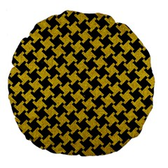 Houndstooth2 Black Marble & Yellow Denim Large 18  Premium Flano Round Cushions by trendistuff