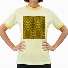 Hexagon1 Black Marble & Yellow Denim Women s Fitted Ringer T Shirts