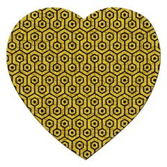 Hexagon1 Black Marble & Yellow Denim Jigsaw Puzzle (heart) by trendistuff