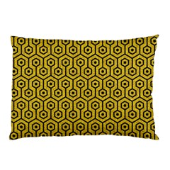 Hexagon1 Black Marble & Yellow Denim Pillow Case (two Sides) by trendistuff