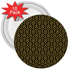 Hexagon1 Black Marble & Yellow Denim (r) 3  Buttons (10 Pack)