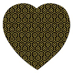 Hexagon1 Black Marble & Yellow Denim (r) Jigsaw Puzzle (heart) by trendistuff