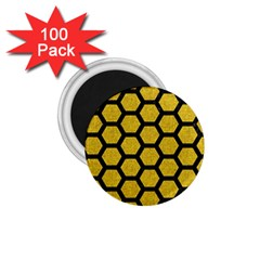Hexagon2 Black Marble & Yellow Denim 1 75  Magnets (100 Pack)  by trendistuff