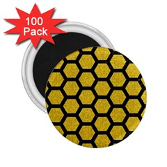 Hexagon2 Black Marble & Yellow Denim 2 25  Magnets (100 Pack)  by trendistuff