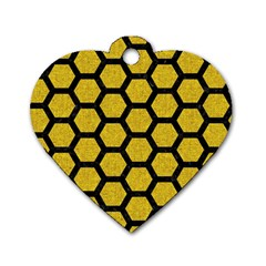 Hexagon2 Black Marble & Yellow Denim Dog Tag Heart (one Side) by trendistuff