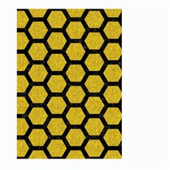 Hexagon2 Black Marble & Yellow Denim Large Garden Flag (two Sides) by trendistuff