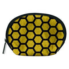 Hexagon2 Black Marble & Yellow Denim Accessory Pouches (medium)  by trendistuff