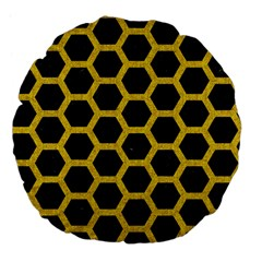Hexagon2 Black Marble & Yellow Denim (r) Large 18  Premium Flano Round Cushions by trendistuff