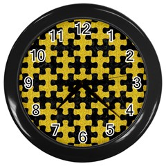 Puzzle1 Black Marble & Yellow Denim Wall Clocks (black) by trendistuff