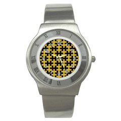 Puzzle1 Black Marble & Yellow Denim Stainless Steel Watch