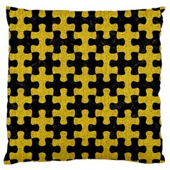 Puzzle1 Black Marble & Yellow Denim Large Cushion Case (two Sides) by trendistuff