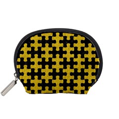 Puzzle1 Black Marble & Yellow Denim Accessory Pouches (small)  by trendistuff