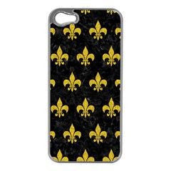 Royal1 Black Marble & Yellow Denim Apple Iphone 5 Case (silver) by trendistuff