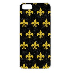 Royal1 Black Marble & Yellow Denim Apple Iphone 5 Seamless Case (white)